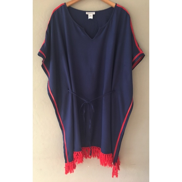Ariat Dresses & Skirts - ARIAT KATY NAVY RED FRINGE KAFTAN DRESS SZ M